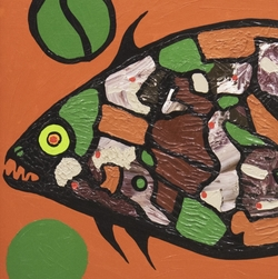 Norval Morrisseau (1932 - 2007) Salmon, 20e siècle Huile sur toile cartonnée 70,2 x 100.5 x 6 cm Don de Charles F. Johnson 1991.012 Photo: Musée d'art de Joliette © Norval Morrisseau